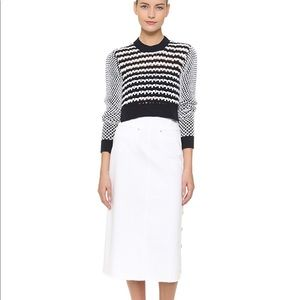 THAKOON Long White Denim Midi Skirt size 6